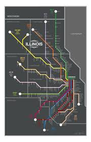 Chicago Lakeview Map by Chicago Metra Lines Map Original Graphic Design 11x17 1st