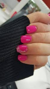 pink nails with a little bit of bling nail design nail art