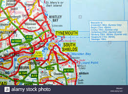 Newcastle England Map by Road Map Of Tynemouth And South Shields North East England Stock