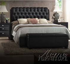 Leather Bed Frame Queen Amazon Com Ireland Black Pu Queen Size Bed By Acme Furniture
