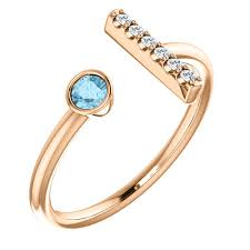 aquamarine diamond ring 14k gold aquamarine diamond bar ring j m jewelry