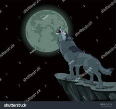 illustration howling wolf full moon stock vector 224471890