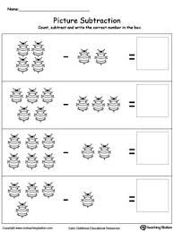 kindergarten subtraction printable worksheets myteachingstation com