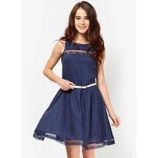buy miaminx navy blue colored printed skater dress online