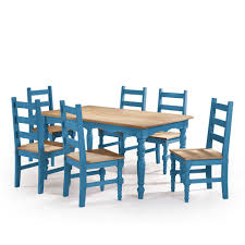manhattan comfort jay 7 piece blue wash solid wood dining set with