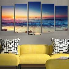 4 pcs no frame hd sunset seaview wall art picture home