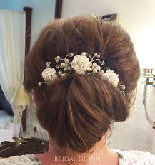 flower hair bun mulberry flower hair vine hair up bun bridal hair