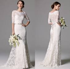 column wedding dresses bohemian country wedding dresses cheap lace half sleeve illusion