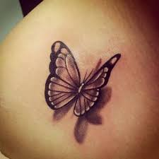 3d butterfly design image on collarbone