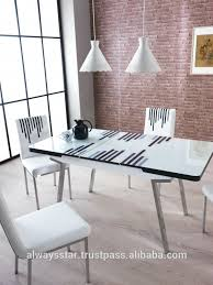 Modern Glass Dining Table Line Cream Extendable Modern Glass Dining Table And Chairs Buy