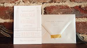 anthologie press updated art deco wedding invitation