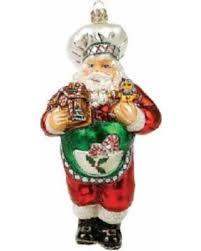 amazing deal on chef santa glass ornament kitchen