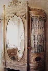 Mirror Curtain Victorian Style Furniture Armoire With Curtain And Mirror