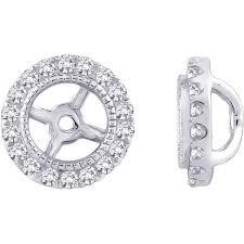 earring jackets 14k white gold 1 4ct tdw halo diamond earring jackets free