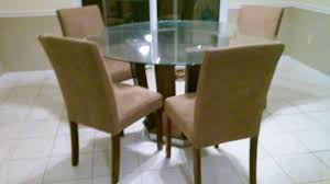best reduced glass top dining room table with 6 microfiber chairs