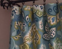 Navy And Green Curtains Blue Green Curtains Etsy