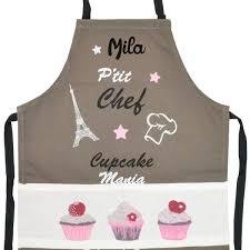 tablier cuisine enfant personnalisé tablier de cuisine enfant personnalisé cupcake taupe