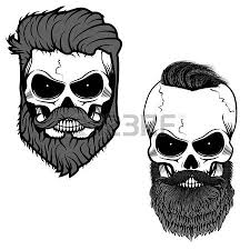 three sugar skulls with hair and beards the day of the dead