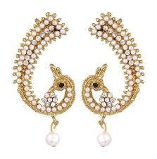 earcuffs online buy reeti fashions peacock motif pearl ear cuffs online