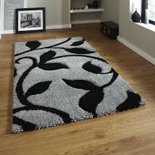 Black Modern Rugs Fashion Carved 7647 Grey Black Modern Rug