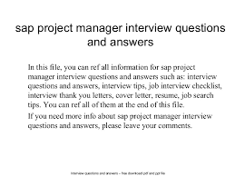 Sap Project Manager Resume Sap Project Manager Interview Questions And Answers