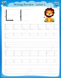 writing practice letter l printable worksheet with clip art for