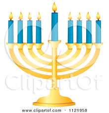 small menorah clipart of a silhouetted blue hanukkah menorah with lit candles