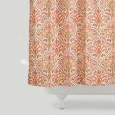 Coral And Gray Curtains Coral Shower Curtain Foter