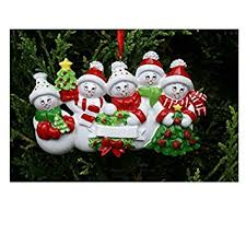 treasured ornaments snowman family of 5 personalized