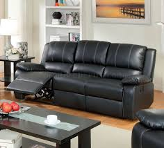 reclining sofa cm6826 in black leather match w options