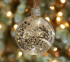 lit silver globe ornament pottery barn