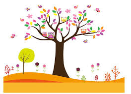 animal tree children nursery room home decor wall