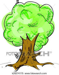 clipart of old tree with hiding animals cartoon icon k20274175