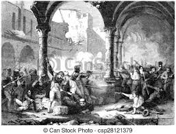 siege vintage siege of saragossa vintage engraving siege of saragossa stock