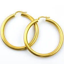 gold hoops satin finish 18k gold hoops plante jewelers