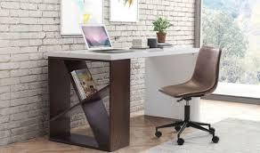 slake modern desk in espresso u0026 white by zuo get furniture