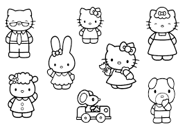 kitty friends family coloring pages cartoon coloring