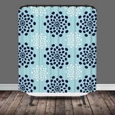 Turquoise Shower Curtains Seafoam Navy Mod Flower Shower Curtain