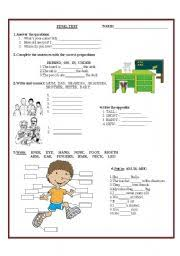 test on grammar vocabulary for young learners