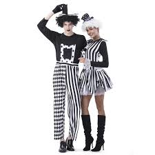 Scary Halloween Clown Costumes Aliexpress Buy Jester Couples Costumes Deluxe Freaky