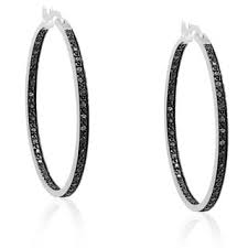 finesque silverplated black diamond hoop earrings free shipping