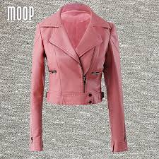 Pink Black Pu Leather Jackets Women Short Motorcycle Jacket Faux