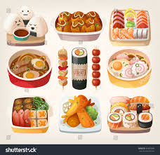 set cuisine set illustrations japanese cuisine dishes เวกเตอร สต อก