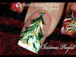 just a christmas tree in drag no water marble nail art design
