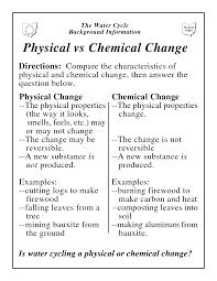 physical vs chemical change chemistry pinterest chemical