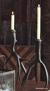 antique bronze antler candlesticks u2013 modish store