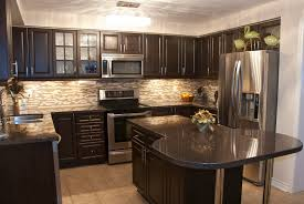 kitchen design dark wooden cabinet and pedant lamp amys office