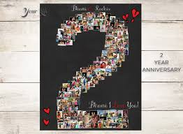 second year anniversary gift ideas 2 year anniversary 2nd anniversary gift photo collage