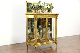 Antique Brass Display Cabinet Gold Leaf 1880 Antique French Louis Xiv Curved Glass Curio China