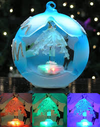 amazon com led christmas tree ornament frosted blue ball with